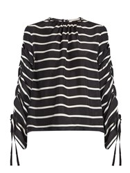 Preen Will Ruched Striped Washed Silk Top Black Stripe