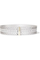Tory Burch Perforated Leather Belt White