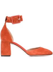 Red Valentino Mary Jane Block Heel Pumps Yellow And Orange