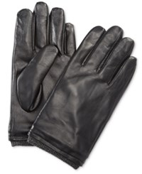 Ryan Seacrest Distinction Men's Leather Gloves Only At Macy's Black Charcoal