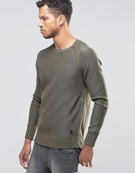 Replay Chunky Knit Jumper With Size Zip Olive Green