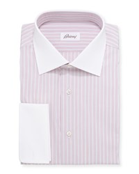 Brioni Contrast Collar Multi Stripe Dress Shirt Red Blue Women's Size 15 1 2R
