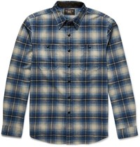 Rrl Cody Slim Fit Checked Brushed Cotton Shirt Blue