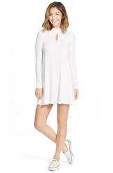 Junior Women's Rvca 'Into First' Ribbed Long Sleeve Shift Dress Vintage White