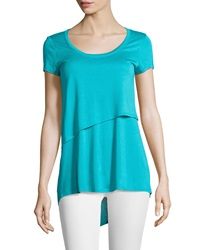 Joan Vass Layered Scoop Neck Tee Moon Glow