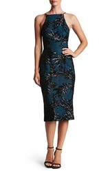 Dress The Population Women's Ashley Sequin Lace Sheath Black Teal