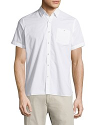 Neiman Marcus End On End Short Sleeve Shirt White