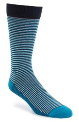 Ted Baker Men's London Stripe Organic Cotton Blend Socks Teal