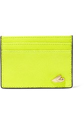 Diane Von Furstenberg Love Tuxedo Neon Textured Leather Cardholder Bright Yellow