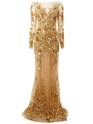 Zuhair Murad Embroidered Long Train Gown Metallic