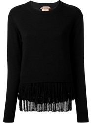 N 21 Nao21 Fringed Jumper Black