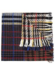 Faith Connexion Oversized Long Checked Scarf Black