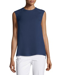 Theory Roliet Sleeveless Silk Top Deep Navy