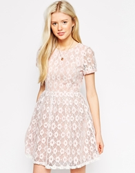 Traffic People Catching Dreams Skater Dress In Daisy Lace Pinkwhite