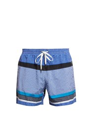 Danward Multi Panel Print Swim Shorts Blue Multi