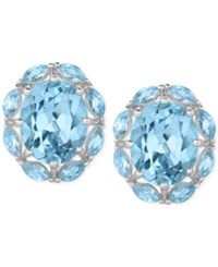 Victoria Townsend Blue Topaz 10 Ct. T.W. Oval Stud Earrings In Sterling Silver