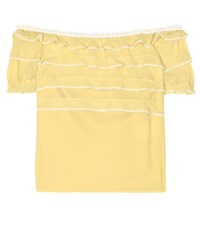 Red Valentino Off The Shoulder Silk Top Yellow