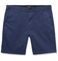 Theory Zaine Stretch Cotton Twill Shorts Blue