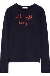 Lingua Franca All Night Long Embroidered Cashmere Sweater Midnight Blue