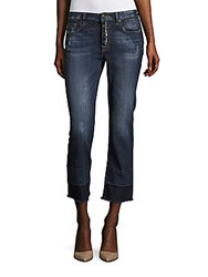 Vigoss Straight Leg Distressed Cropped Jeans Medium Wash