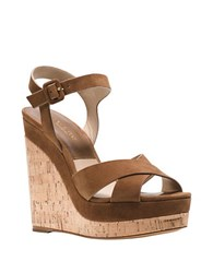 Michael Kors Cate Leather Platform Wedge Sandals Brown