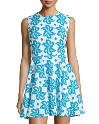 Diane Von Furstenberg Sleeveless Giant Leaf Print Fit And Flare Dress Floral Blue