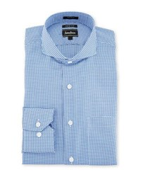 Neiman Marcus Trim Fit Regular Finish Houndstooth Print Dress Shirt Blue