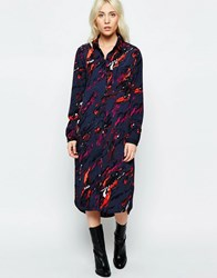 Neon Rose Volcanic Print Shirt Dress Multi Navy