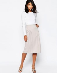 Asos Pencil Skirt With Pleat Detail Gray