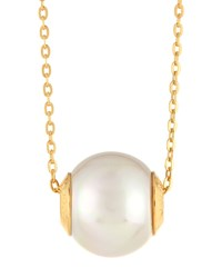Majorica Golden White Pearl Pendant Necklace Women's