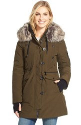 Bcbgeneration 'Expedition' Faux Fur And Faux Shearling Trim Parka Army