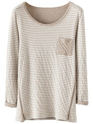Poetry Striped Jersey Top Pale Stone