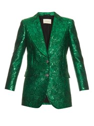 Gucci Floral Brocade Lame Jacket Green Multi