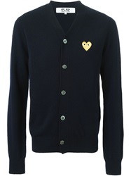 Comme Des Garcons Play Embroidered Heart Cardigan Blue