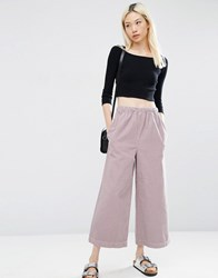 Asos Pull On Wide Leg Trouser In Dusty Pink Cord Dusty Pink