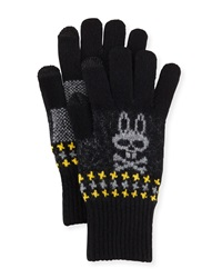Psycho Bunny Stanley Houndstooth Tech Gloves Black