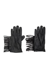 Maison Scotch Leather Fringe Gloves Black