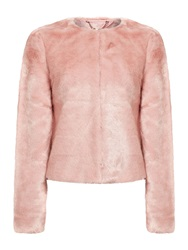 Lipsy Long Sleeve Faux Fur Coat Pink