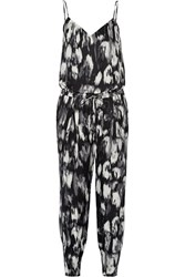 Haute Hippie Printed Silk Jumpsuit Black
