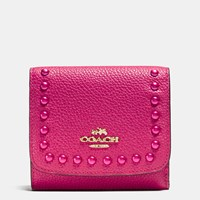 Coach Lacquer Rivets Small Wallet In Pebble Leather Light Gold Cerise
