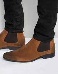 Asos Chelsea Boots In Brown Tan Faux Suede Ginger