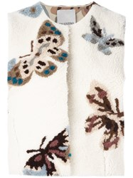 Valentino Cropped Butterfly Pattern Vest Nude And Neutrals