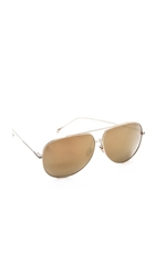 Dita Condor Mirrored Aviator Sunglasses White Gold Gold Mirror