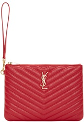 Saint Laurent Red Quilted Leather Monogram Pouch