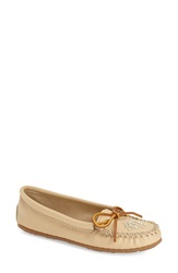 Minnetonka Beaded Moccasin Women Champagne Deerskin Leather