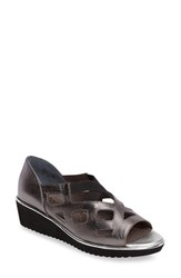 J. Renee Women's Valent Cut Out Wedge Sandal Pewter Leather