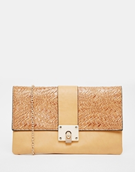 Liquorish Clutch Bag With Woven Detail Beige