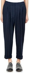 Lanvin Pinstriped Crop Trousers Blue