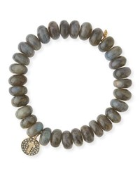 Sydney Evan Beaded Smooth Labradorite Bracelet With Diamond And Sapphire Flower Eye Charm