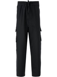 Consistence Striped Cargo Trousers Black